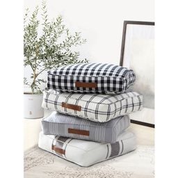 "Better Homes & Gardens Yarn Dyed Floor Pillow, White and Black Windowpane Plaid, 24"" x 24""   Walmart (US)"