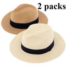 Panama Hat for Women - 2 Pack Wide Brim Straw Hat for Summer Sun Beach Travel, Ivory and Tan Colo...   Walmart (US)