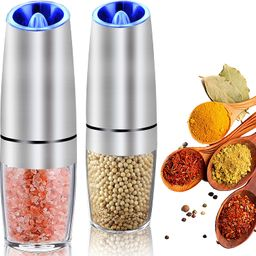 AerWo Gravity Electric Salt and Pepper Grinder Set, Pepper Grinder Electronic with Blue LED Light...   Amazon (US)