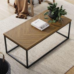 Nathan James Doxa Modern Industrial Coffee Table Wood in Light Brown Herringbone Pattern and Meta...   Walmart (US)
