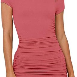 NENONA Women's Short Sleeve Summer Ruched Bodycon Mini Dress Side Drawstring Clubwear Casual Dres... | Amazon (US)