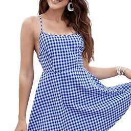SweatyRocks Women's Spaghetti Strap Lace Up Back Casual Short Mini Gingham Dress | Amazon (US)