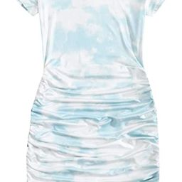 Romwe Women's Tie Dye Short Sleeve Drawstring Ruched Mini Bodycon Dress | Amazon (US)