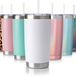 CIVAGO 20oz Tumbler with Lid and Straw, Stainless Steel Vacuum Insulated Coffee Tumbler Cup, Doub... | Amazon (US)