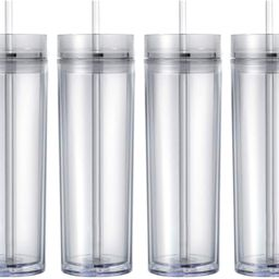 Maars Drinkware Double Wall Insulated Skinny Acrylic Tumblers with Straw and Lid, 16 oz. (4 pack,... | Amazon (US)