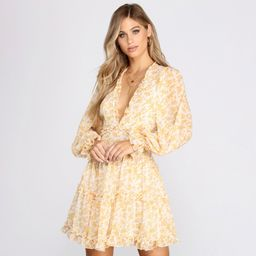 Spring Fling Floral Chiffon Ruffle Dress   Windsor Stores