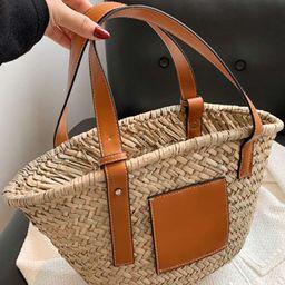 PU Splicing Straw Tote Bag | SHEIN