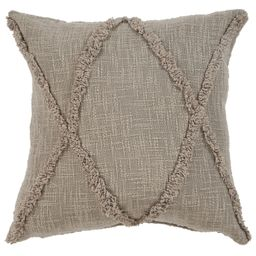 """LR Home Solid Diamond Tufted Cotton Square Throw Pillow, Taupe Brown, 20"""", Count per Pack 1   Walmart (US)"""