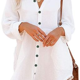 Button Down Tunic for Women Long Sleeve V Neck Blouse Shirt with Frayed Trim Relaxed Fit | Amazon (US)