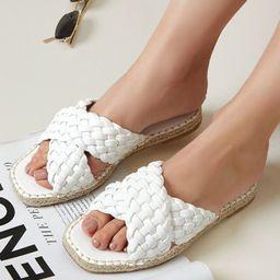 Pleather Braided Crisscross Vamp Espadrille Sandals | SHEIN