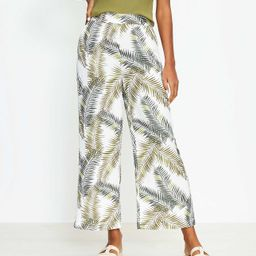 Wide Leg Crop Pants in Palm Leaf   LOFT