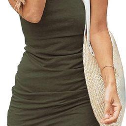 BTFBM Women Casual Crew Neck Ruched Sleeveless Tank Bodycon 2021 Shirt Short Mini Dresses   Amazon (US)