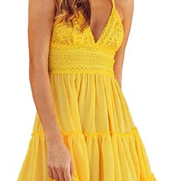AlvaQ Womens Dress Summer Spaghetti Strap Tie Waist Smocked Mini Dresses   Amazon (US)