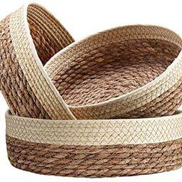 Handmade Woven Wicker Basket for Organizing and Storage, Woven Round Shelf Basket Set, Decorative... | Amazon (US)
