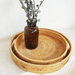 ZDMATHE Rattan Storage Tray Round Basket Hand-Woven Rattan Tray Wicker Basket Bread Fruit Food Br... | Walmart (US)