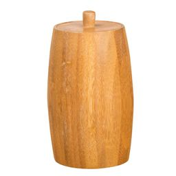Creative Home Natural Bamboo Barrel Shaped Cotton Ball Holder Cotton Swab Organizer Bathroom Storage | The Home Depot