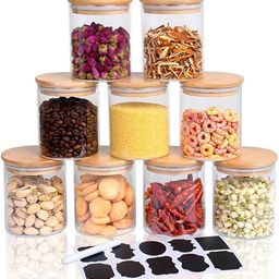 Hoanra 9 Piece Glass Storage Jars Set with Airtight Bamboo Lids and Labels, 15oz Glass Jar-Small ...   Amazon (US)
