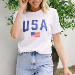 Simply Patriotic White Graphic Tee   The Mint Julep Boutique