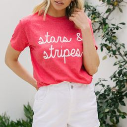Stars & Stripes Heather Red Graphic Tee   The Mint Julep Boutique