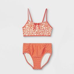 Girls' Floral High Waist 2pc Bikini Set - Cat & Jack™ Rust | Target