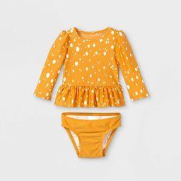 Baby Girls' 2pc Ruffle Dot Rash Guard Set - Cat & Jack™ Yellow | Target