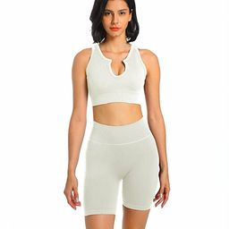 Jetjoy Women's Workout Outfit Set 2 Pcs Seamless Yoga Sports Bra with Leggings Yoga Clothes Set | Amazon (US)