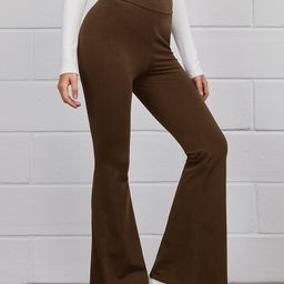 SHEIN Flare Leg Solid Pants   SHEIN