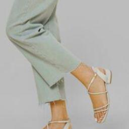 Faux Lizard Leather Strappy Block Heel Sandals | SHEIN