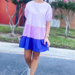 Purple Color Block Tiered Dress w/ Balloon Sleeves   Shop Style Your Senses