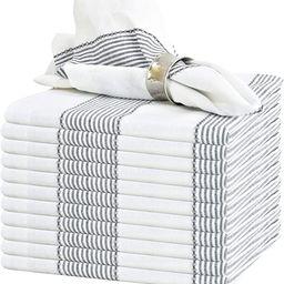 GLAMBURG Cloth Napkin 12-Pack 100% Ring Spun Cotton Dinner Napkin 18x18 with Mitered Corners and ... | Amazon (US)