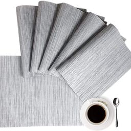 Placemats Placemats for Dining Table Gray Table Mats Set of 6 Easy to Clean Wipeable Washable Mod... | Amazon (US)