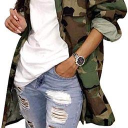 Womens Street Fashion Plus Size Military Camouflage Printed BF Coat Safari Jacket Overcoats | Amazon (US)