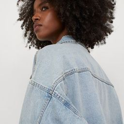 Oversized jacket in washed cotton denim. Collar, buttons at front, dropped shoulders, and long sl...   H&M (US)