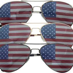 3 Pack Bulk USA America Glasses - American Flag Aviator Sunglasses - Assorted Colors | Amazon (US)