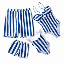 IFFEI Family Matching Swimwear One Piece Bathing Suit Striped Hollow Out Monokini Mommy and Me Be... | Amazon (US)