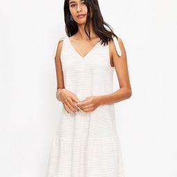 Bow Strap Button Flounce Dress | LOFT | LOFT