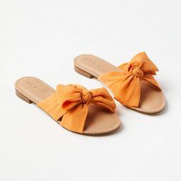Pleated Bow Slide Sandals | LOFT | LOFT