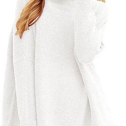 ANRABESS Women Casual Turtleneck Batwing Sleeve Slouchy Oversized Ribbed Knit Tunic Sweaters   Amazon (US)