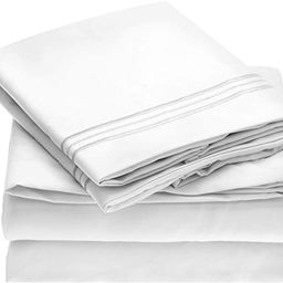 Mellanni Bed Sheet Set - 1800 Bedding - Wrinkle, Fade, Stain Resistant - 4 Piece (King, White) | Amazon (US)