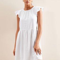 Flutter-Sleeve Linen Shift Dress | Banana Republic Factory