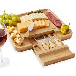 Casafield Organic Bamboo Cheese Cutting Board & Knife Gift Set - Wooden Serving Tray for Charcute... | Walmart (US)