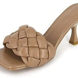 Women's Square Open Toe Woven Mule Heeled Sandals Stiletto High Heel Slip On Quilted Leather Sl...   Amazon (US)