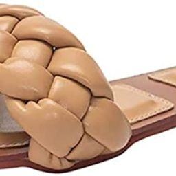 Trish Lucia Womens Square Open Toe Flat Sandals Slip On Mule Slides Braided Strap Slipper   Amazon (US)