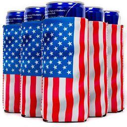 QualityPerfection 12 Flag Slim Can Cooler Sleeves, Beer/Energy Drink Blank Skinny 12 oz Neoprene ...   Amazon (US)