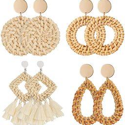4 Pairs Rattan Earrings Lightweight Geometric Statement Tassel Woven Bohemian Earrings Handmade S...   Amazon (US)