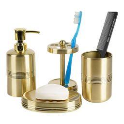 4pc Jewel Metal Bath Accessory Set for Vanity Counter Tops Gold - Nu Steel   Target