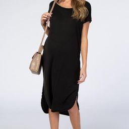 Black Faded Curved Hem Maternity Midi Dress | PinkBlush Maternity