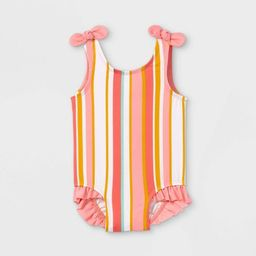 Baby Girls' Striped One Piece Swimsuit - Cat & Jack™ Coral | Target