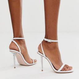ASOS DESIGN Nation metal heel barely there heeled sandals in white | ASOS (Global)
