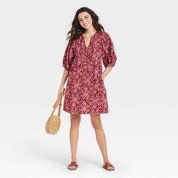 Women's Floral Print Puff Elbow Sleeve Babydoll Dress - Universal Thread Pink XL | Target
